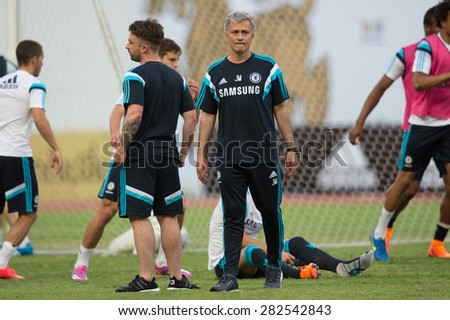BANGKOK THAILAND MAY 29,Manager Jose Mourinho of Chelsea FC  in action during a Chelsea FC training session at  Rajamangala Stadium on May 29,2015 in Bangkok Thailand