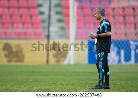 BANGKOK THAILAND MAY 29,Manager Jose Mourinho of Chelsea FC look on during a Chelsea FC training session at  Rajamangala Stadium on May 29,2015 in Bangkok Thailand  - stock photo