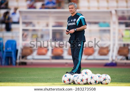 BANGKOK THAILAND MAY 30:Manager Jose Mourinho of Chelsea in action during the Singha Chelsea fc. Celebration match Thailand All-Stars and Chelsea FC at Rajamangala Stadium on May 30,2015 in Thailand. - stock photo