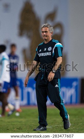 BANGKOK THAILAND MAY 30:Manager Jose Mourinho of Chelsea in action during the Singha Chelsea fc. Celebration match Thailand All-Stars and Chelsea FC Rajamangala Stadium on May 30,2015 in Thailand.