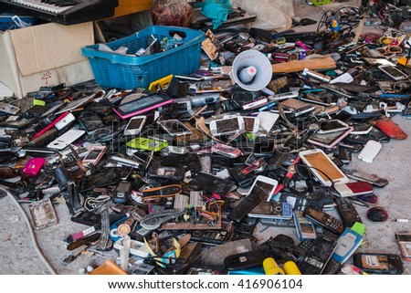 BANGKOK THAILAND - MAY 6 2016 : Many pile high broken  electronic leave  in second hand reuse shop in Bangkok