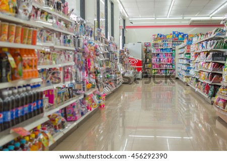 Bangkok, Thailand - May 15, 2016 : Many types of goods in convenience store.