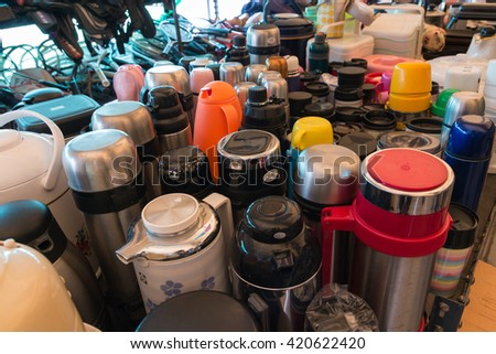 BANGKOK THAILAND - MAY 6 2016 : Many used water canteens sell in Japan reuse second hand shop in Bangkok - stock photo