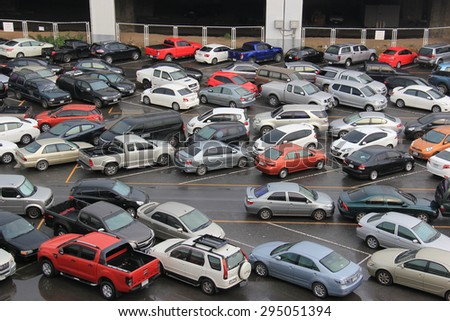 Bangkok, Thailand - May 9, 2015: Many vehicles are parking at a facility in Chatuchak district, Bangkok, Thailand.