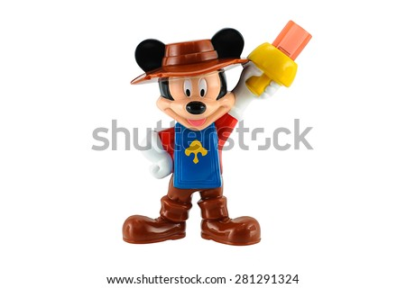 Bangkok,Thailand - May 23, 2015: Mickey mouse in knight suite isolated on white. There are plastic toy sold as part of the McDonald's Happy meals. - stock photo