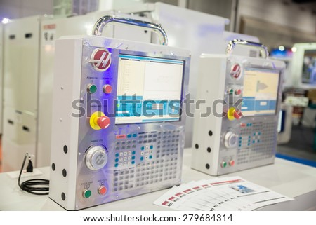 BANGKOK ,THAILAND - MAY 16:  Milling  control panel at  Intermach-Subcon Thailand 2015, on MAY 16, 2015 in Bangkok,  Thailand.
