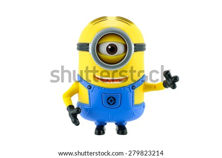 Bangkok,Thailand - May 17, 2015: Minions toy isolated on white background an action figure from Despicable Me 2 animated 3D film produced by Illumination Entertainment for Universal Pictures. - stock photo