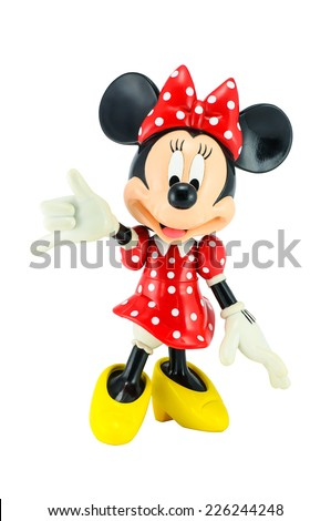 Bangkok,Thailand - May 13, 2014 : Minnie mouse from Disney character. This character from Mickey and Minnie Mouse  animation. - stock photo