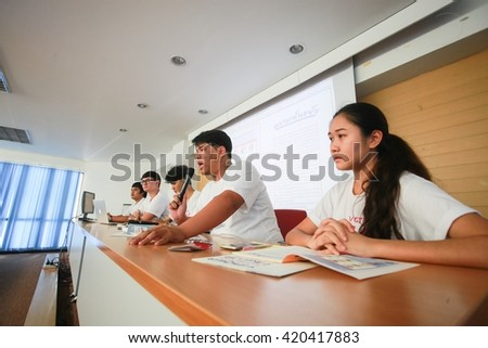 Bangkok, Thailand- May 15,2016 New democracy movement, a political activist group, conducts an event to press the newest release of Thailand constitution (draft version) at Thammasat University.