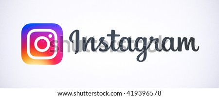 Bangkok, Thailand - May 14, 2016 - New Instagram logotype camera icon symbolic with colorful new design, Printed on white paper. Instagram is a popular social networking for sharing photos and videos.