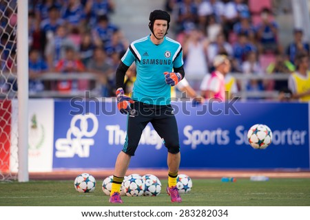 BANGKOK THAILAND MAY 30:Petr Cech (GK) of Chelsea in action during the Singha Chelsea fc. Celebration match Thailand All-Stars and Chelsea FC at Rajamangala Stadium on May 30,2015 in Thailand. - stock photo