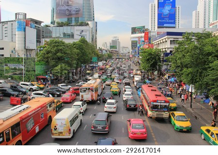 Bangkok, Thailand - May 7, 2015: Ratchaprasong is an intersection and a shopping district in the heart of Bangkok, Thailand. - stock photo