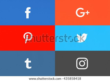 Bangkok, Thailand - May 15 , 2016 - Set of popular social media icons Facebook, Instagram,Twitter, Pinterest, Tumblr, Google Plus printed on paper. For your icon social media project design. - stock photo