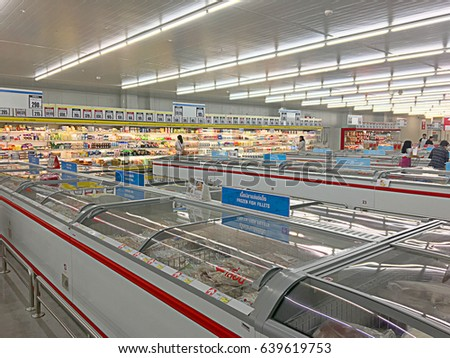 Bangkok, Thailand - 14 May 2017 : Shelf of consumer goods, products at makro supermarket store in Thailand. illustrative and editorial.
