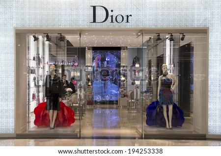 Bangkok, Thailand-May 12th 2014: The Christian Dior store in the Emporium  Mall. Dior is one of many luxury brands to be found in this and other malls in Bangkok. - stock photo