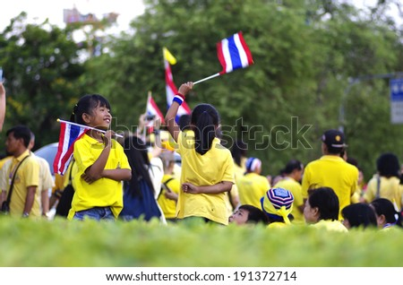 Bangkok, THAILAND - May 5: Thai people ceremony for Candles Loyal for the H.M.K. Bhumibol Adulyadej on May 5, 2014 at Sanamlaung,Bangkok, Thailand  - stock photo