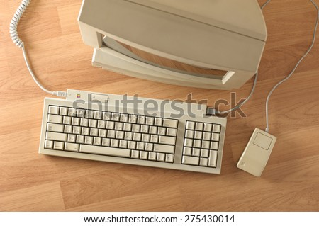 BANGKOK, THAILAND - MAY 06, 2015: The Apple Keyboard II and Apple Desktop Bus Mouse on desktop. - stock photo