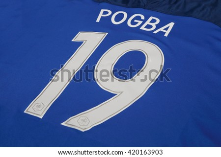 BANGKOK, THAILAND - MAY 14, 2016: The  Name of Paul Pogba on France National Football  Jersey on May 14,2016 in Bangkok Thailand. Paul Pogba is one of the yong talent player of France national team
