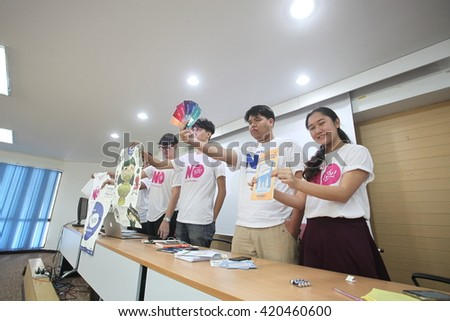 Bangkok,Thailand,May 15,2016 : The New Democracy Movement, a political activist releases a new issue book presenting their concerns the recent draft of Thailand's constitution at Thammasat University