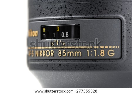 BANGKOK, THAILAND - MAY 13, 2015: The Nikon 85mm f1.8G AF-S lens. This lens was announced in January 2012 by Nikon.