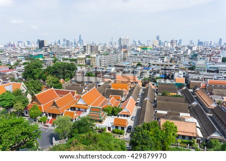 BANGKOK, THAILAND - MAY 29, 2016 : The view on top of Golden Mount at  Wat Saket in Bangkok, Thailand
