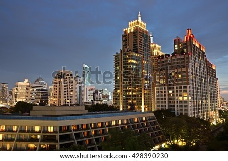 Bangkok, THAILAND - MAY 27:2016. twilight time Top view Chidlom  Road and Sukhumvit Road  Bangkok. Chidlom  Road and Sukhumvit Road that is center of commercial business in Thailand.