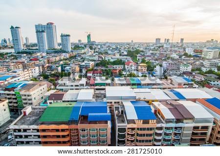 Bangkok, Thailand- May 24, 2015: Twilight view bangkok city on May 24, 2015 at bangkok, Thailand. - stock photo
