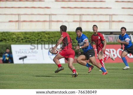 BANGKOK ,THAILAND - MAY 4 : Unidentified rugby players during HSBC Asian 5 Nations Division II & Premier Division 2011 at National Stadium on May 4 , 2011 in Bangkok, Thailand.