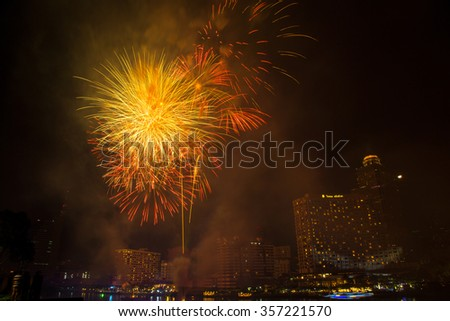 Bangkok, Thailand, 2016 New year firework at Chaopraya river