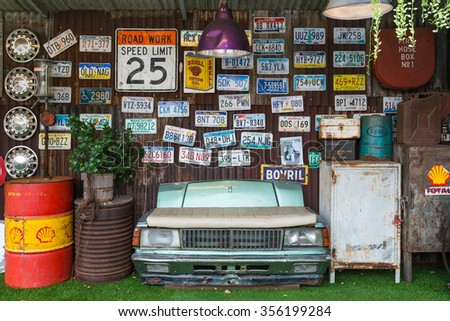 BANGKOK THAILAND - Nov 14 : Back drop retro style antiques and License plate on BANGKOK THAILAND , Nov 14 2015