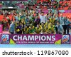 BANGKOK, THAILAND - NOV 18 : Brazil national team celebrating success at the championship in FIFA Futsal World Cup thailand 2012 on November 18, 2012 at Indoor Stadium Huamark in Bangkok Thailand. - stock photo
