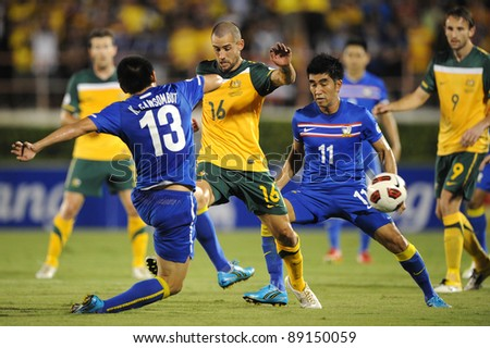 BANGKOK THAILAND - NOV 15:Carl Valeri of Australia in action during The FIFA WORLD CUP 2014 between Thailand(B) and Australia (Y) at Supachalasai Stadium on Nov 15, 2011 Bangkok, Thailand. - stock photo