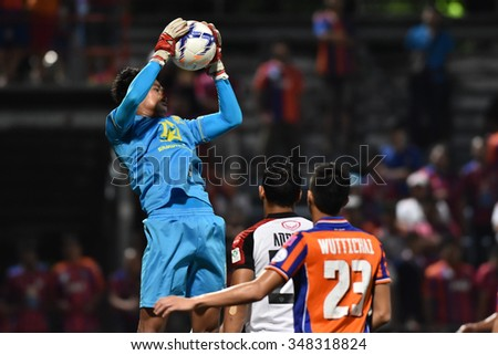 BANGKOK THAILAND-NOV22:Chatchai Budprom of Osotspa FC in action during Thai Premier League2015 between Thai Port Fc and Osotspa FC at PAT Stadium on November22,2015 in Bangkok Thailand - stock photo