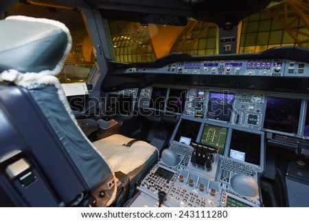 BANGKOK, THAILAND - NOV 07: Emirates Airbus A380 aircraft cockpit interior on November 07, 2014. Emirates is the largest airline in the Middle East