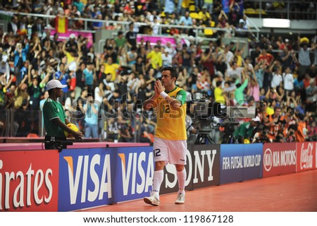 BANGKOK, THAILAND - NOV 18 : Falcao of Brazil during action in FIFA Futsal World Cup thailand 2012 Between Spain (R) VS Brazil (Y) on November 18, 2012 at Indoor Stadium Huamark in Bangkok Thailand. - stock photo