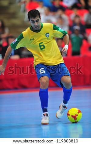 BANGKOK, THAILAND - NOV 14: Gabriel player of Brazil in FIFA Futsal World Cup between Argentina (B) and Brazil (Y) at Indoor Stadium Huamark on November 14, 2012 in Bangkok, Thailand. - stock photo