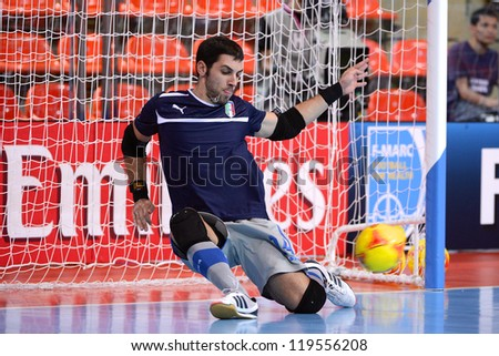 BANGKOK,THAILAND-NOV18:Goalkeeper Michele Miarelli of Italy warms up ahead during the FIFA Futsal World Cup  between Italy and Colombia at Indoor Stadium Huamark on Nov18,2012 in,Thailand. - stock photo