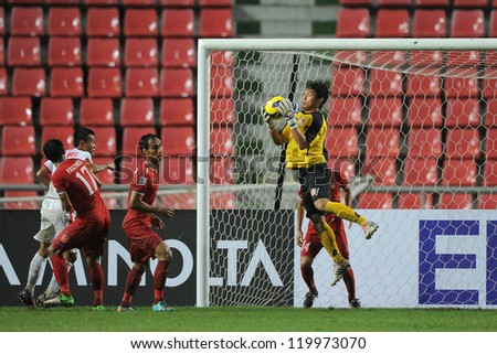 BANGKOK THAILAND-NOV 24:Goalkeeper Thiha Sithu of Myanmar (red) in action  during the AFF Suzuki Cup between Vietnam and Myanmar at Rajamangala stadium on Nov24, 2012 in Bangkok,Thailand.