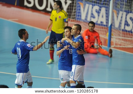 BANGKOK, THAILAND - NOV18:Italy team celebrates after scoring  during the FIFA Futsal World Cup the third place between Italy and Colombia at Indoor Stadium Huamark on Nov18, 2012 in Bangkok,Thailand. - stock photo