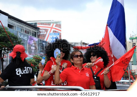 BANGKOK, THAILAND - NOV 19: Red Shirts - At least 10,000 anti-government protesters return to Bangkok's streets on November 19, 2010 in Thailand to mark the 6 month anniversary of a deadly military crackdown