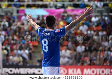 BANGKOK,THAILAND-NOV18:Rodolfo Fortino of Italy celebrates after scoring during the FIFA Futsal World Cup  between Italy and Colombia at Indoor Stadium Huamark on Nov18,2012 in,Thailand.