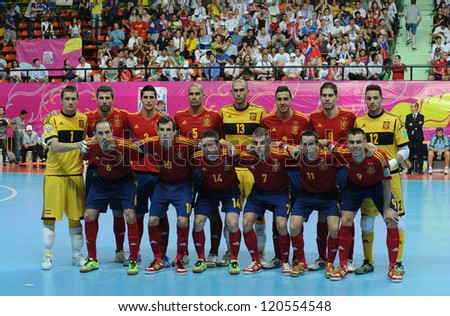 BANGKOK,THAILAND- NOV 14:Spain team post for a photo during the FIFA Futsal World CUP  between  Spain and Russia at Nimibutr stadium on Nov 14,2012 in Thailand. - stock photo