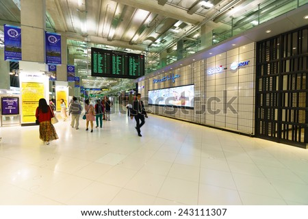 BANGKOK, THAILAND - NOV 07: Suvarnabhumi Airport interior on November 07, 2014. Suvarnabhumi Airport is one of two international airports serving Bangkok.