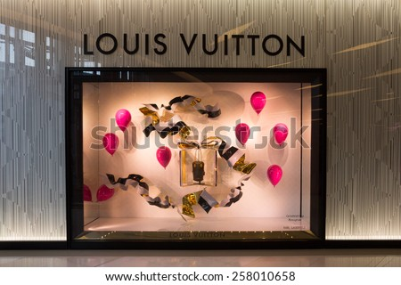 Bangkok, Thailand-Nov 25th 2014: Louis Vuitton store in Siam Paragon Mall. The mall is home to many designer labels. - stock photo