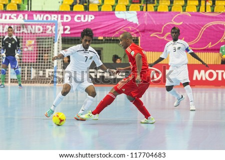 BANGKOK, THAILAND - NOV 3 : Unidentified players in FIFA Futsal World Cup thailand 2012 Between Russia (R) VS Solomon Islands (W) on November 3, 2012 at Nimibutr Stadium in Bangkok Thailand.