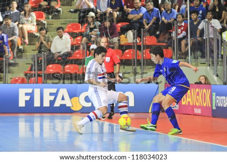 BANGKOK, THAILAND - NOV 7 : Unidentified players in the FIFA Futsal World Cup Group C match between Paraguay and Thailand at Indoor Stadium Huamark on November 7, 2012 in Bangkok, Thailand.
