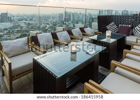 BANGKOK, THAILAND - NOV 29: View from the top of Octave Bar on November 29, 2013 in Bangkok, Thailand. The Octave bar is located in the Thong Lor district near sukhumvit road. - stock photo