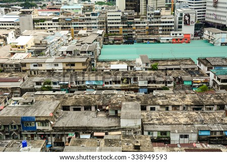 Bangkok, Thailand - Nov 10, 2015. View of Bangkok city with many old buildings at Chinatown. Bangkok is the capital and largest city in Thailand.