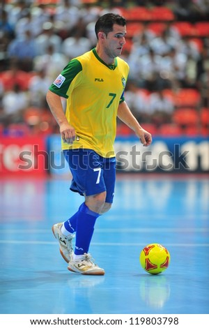 BANGKOK, THAILAND - NOV 14: Vinicius player of Brazil in FIFA Futsal World Cup between Argentina (B) and Brazil (Y) at Indoor Stadium Huamark on November 14, 2012 in Bangkok, Thailand. - stock photo