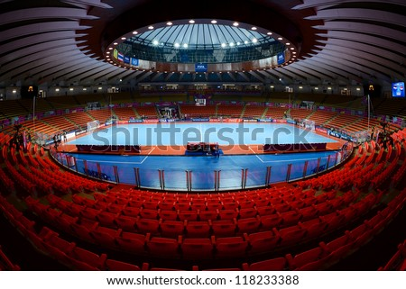 BANGKOK THAILAND - NOVEMBER 04: A general view of the stadium during the FIFA Futsal World Cup match between Paraguay and Costa Rica at Indoor Stadium Huamark on November 4, 2012 in BANGKOK,Thailand - stock photo